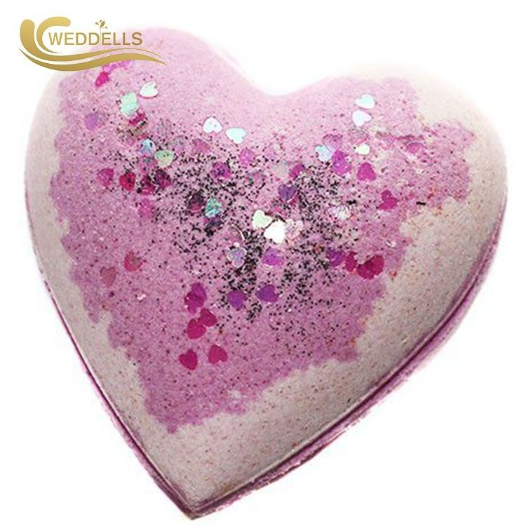 Heart Shape Natural Ingredients Bath Bombs With Ring / Bubble Bath Balls
